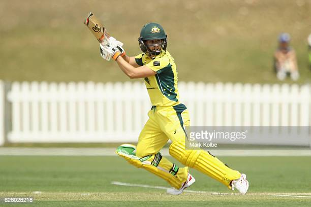 Nicole Bolton of Australia bats during the women's One Day International match between the Australian Southern Stars and South Africa on November 27...