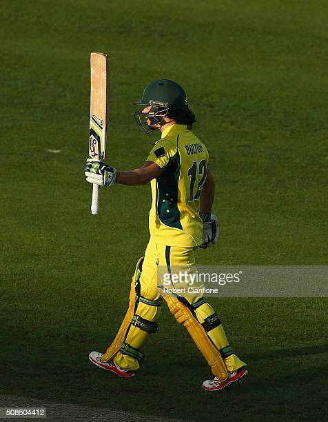 Nicole Bolton of Australia celebrates after reaching her half century during game two of the women's one day international series between Australia...
