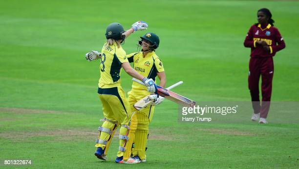 Nicole Bolton of Australia celebrates her century during the ICC Women's World Cup 2017 match between Australia and West Indies at The Cooper...