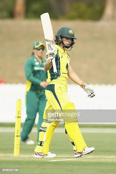 Nicole Bolton of Australia celebrates her half century during the women's One Day International match between the Australian Southern Stars and South...