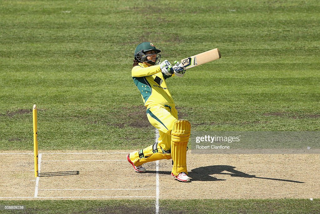 <a gi-track='captionPersonalityLinkClicked' href=/galleries/search?phrase=Nicole+Bolton&family=editorial&specificpeople=4667826 ng-click='$event.stopPropagation()'>Nicole Bolton</a> of Australia hits out during game three of the one day international series between Australia and India at Blundstone Arena on February 7, 2016 in Hobart, Australia.