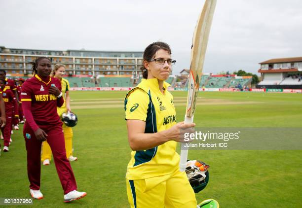Nicole Bolton of Australia leads the teams off the pitch after The ICC Women's World Cup 2017 match between Australia and The West Indies at The...
