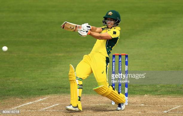 Nicole Bolton of Australia plays a shot during the ICC Women's World Cup 2017 match between Australia and New Zealand at The County Ground on July 2...