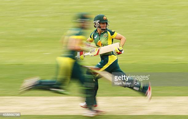 Nicole Bolton of Australia runs between wickets during game two of the women's international one day series between Australia and the West Indies at...