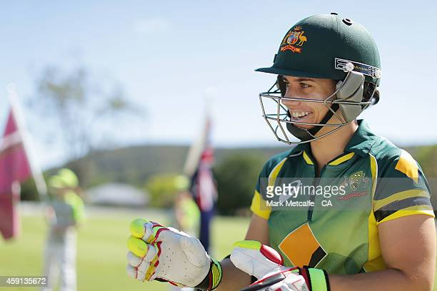 Nicole Bolton of Australia talks to opening partner Elyse Villani during game four of the International One Day series between Australia and West...