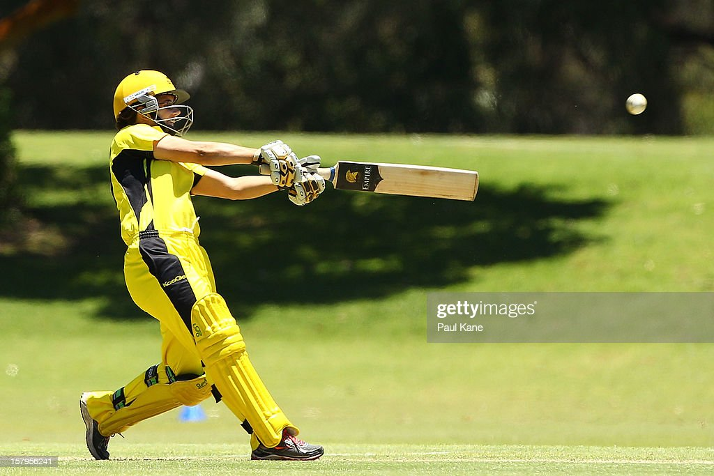 Nicole Bolton of the Fury bats during the WNCL match between the Western Australia Fury and the South Australia Scorpions at Christ Church Grammar Playing Fields on December 8, 2012 in Perth, Australia.