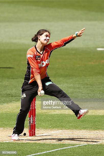 Nicole Bolton of the Perth Scorchers bowls during the Women's Big Bash League match between the Adelaide Strikers and the Perth Scorchers at Adelaide...