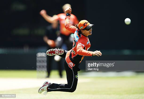 Nicole Bolton of the Scorchers attempts a catch during the Women's Big Bash League match between the Perth Scorchers and the Hobart Hurricanes at...