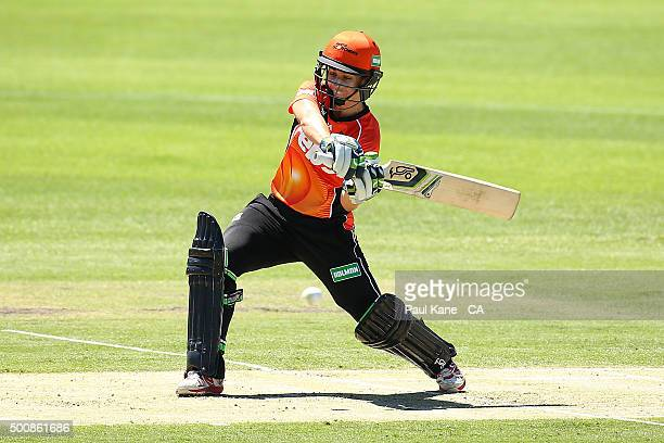 Nicole Bolton of the Scorchers bats during the Women's Big Bash League match between the Perth Scorchers and the Brisbane Heat at Aquinas College on...