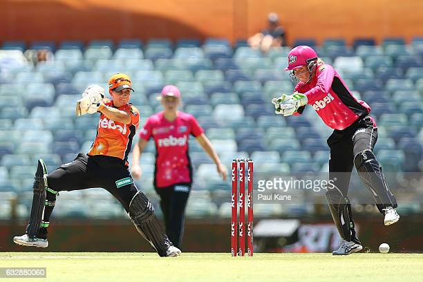 Nicole Bolton of the Scorchers bats during the Women's Big Bash League match between the Perth Scorchers and the Sydney Sixers at WACA on January 28...