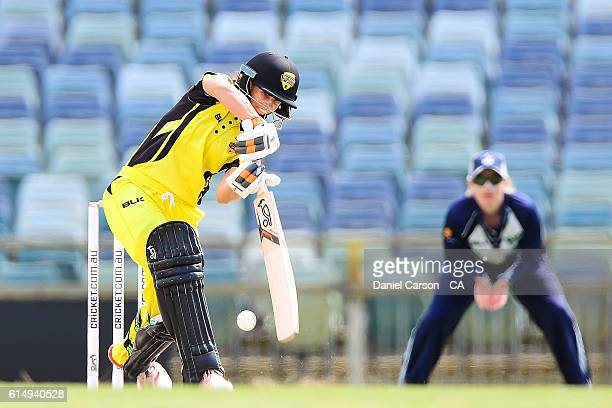 Nicole Bolton of the WA Fury plays a shot during the WNCL match between Western Australia and Victoria at WACA on October 16 2016 in Perth Australia