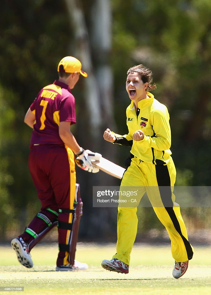 Nicole Bolton of Western Australia celebrates after taking the wicket of Grace Harris of Queensland during the WNCL match between Queensland and...