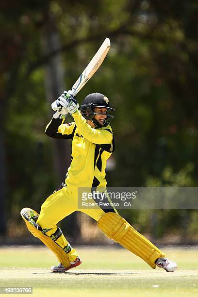 Nicole Bolton of Western Australia plays a shot during the WNCL match between Queensland and Western Australia at Park 25 on November 22 2015 in...