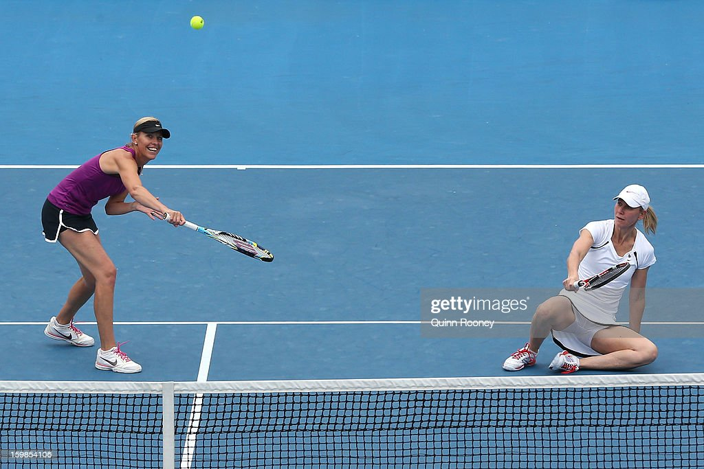 Nicole Bradtke of Australia plays a shot in her third round legends doubles match with Rennae Stubbs of Australia against Amelie Mauresmo of France and Lindsay Davenport of the United States during day nine of the 2013 Australian Open at Melbourne Park on January 22, 2013 in Melbourne, Australia.