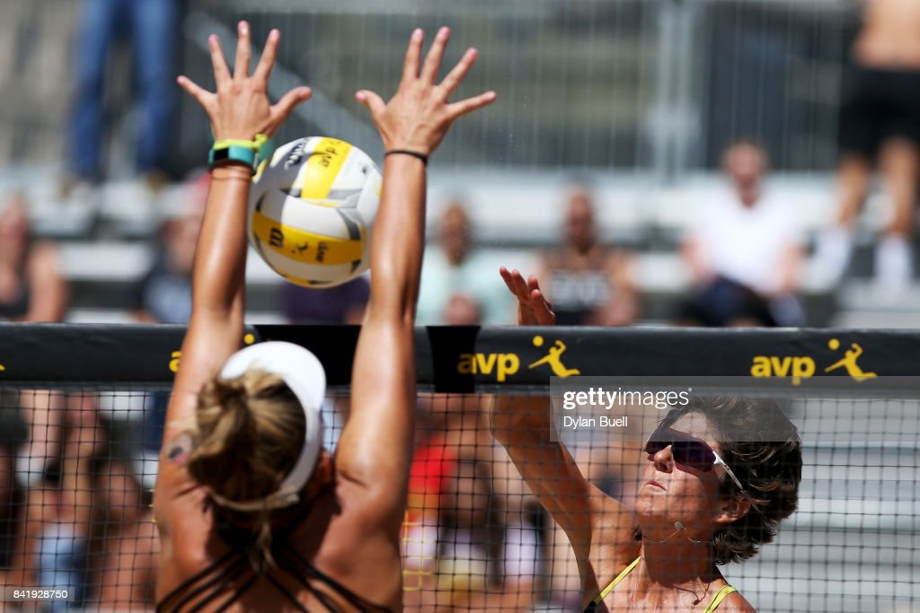 Nicole Branagh attempts a kill against Jace Pardon during their match at the AVP Championships in Chicago - Day 3 on September 2, 2017 in Chicago, Illinois.