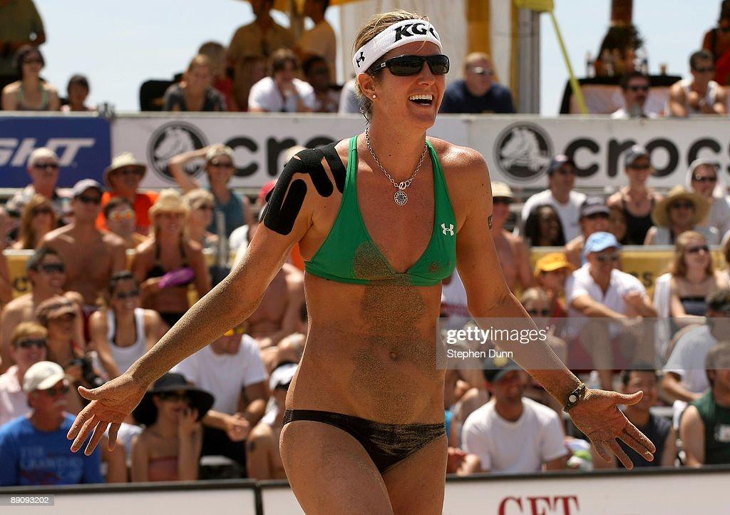 Nicole Branagh reacts at the AVP Crocs Manhattan Beach Open on July 18 2009 in Manhattan Beach California Nicole Branagh/Elaine Youngs defeted Brooke...