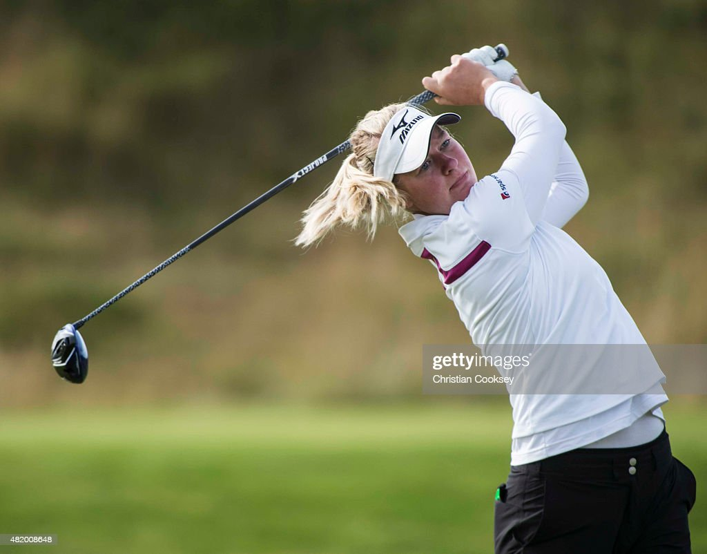 Nicole Broch Larsen of Denmark tees off at the second hole during the final round of the Aberdeen Asset Management Scottish Ladies Open at Dundonald Links Golf Course on July 26, 2015 in Troon, Scotland.