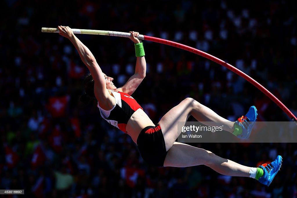 Nicole Buchler of Switzerland competes in the Women's Pole Vault qualification during day one of the 22nd European Athletics Championships at Stadium Letzigrund on August 12, 2014 in Zurich, Switzerland.