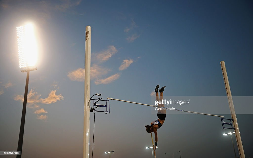 Nicole Buechler of Switzerland competes in the Women's Pole Vault final during the Doha IAAF Diamond League 2016 meeting at Qatar Sports Club on May 6, 2016 in Doha, Qatar.