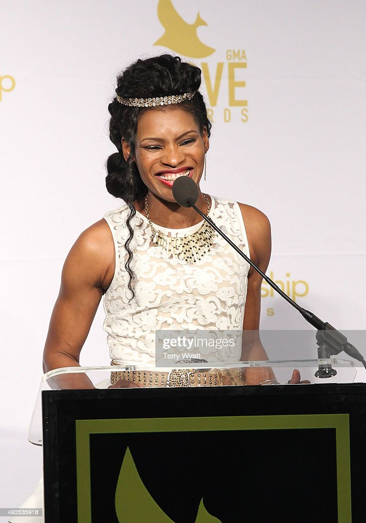 <a gi-track='captionPersonalityLinkClicked' href=/galleries/search?phrase=Nicole+C.+Mullen&family=editorial&specificpeople=2661301 ng-click='$event.stopPropagation()'>Nicole C. Mullen</a> speaks in the press room during the 2015 Dove Awards at Allen Arena, Lipscomb University on October 13, 2015 in Nashville, Tennessee.