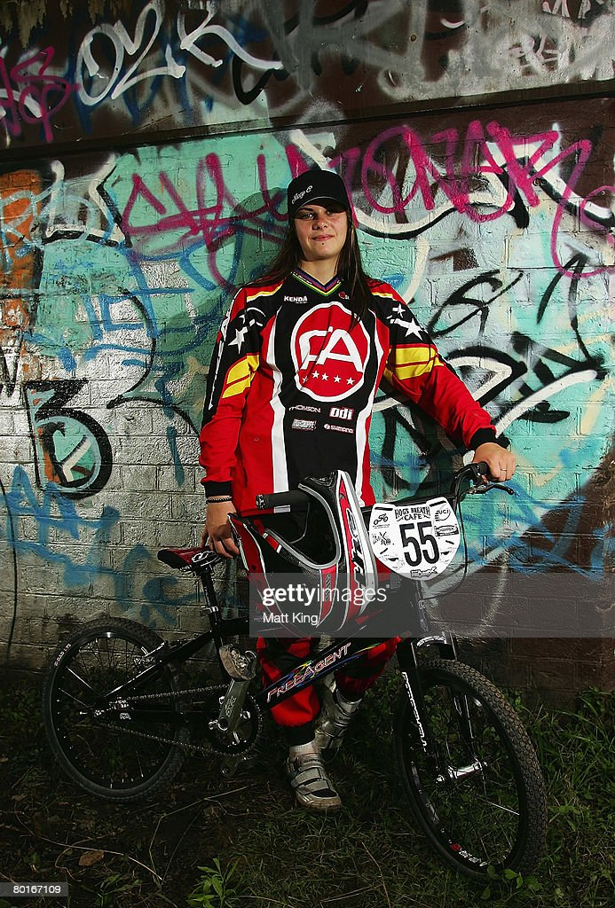 Nicole Callisto of Western Australia poses for a portrait after ranking round nine of the 2008 UCI BMX Oceania series at Penrith BMX Club on March 8...