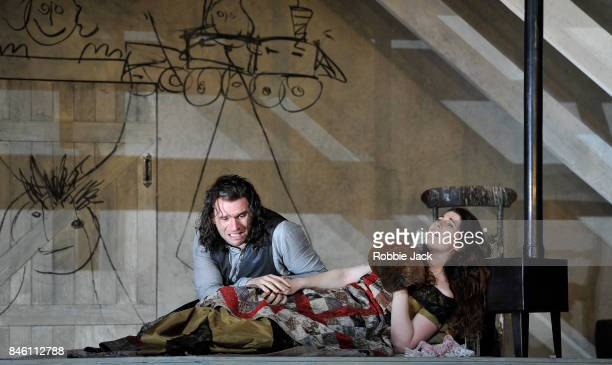 Nicole Car as Mimi and Michael Fabiano as Rodolfo in the Royal Opera's production of Giacomo Puccini's La boheme directed by Richard Jones and...