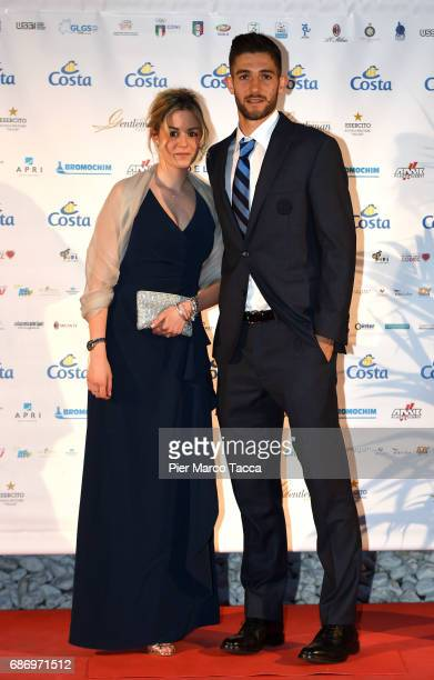 Nicole Ciocca and Roberto Gagliardini attend the Gentleman Prize on May 22 2017 in Milan Italy