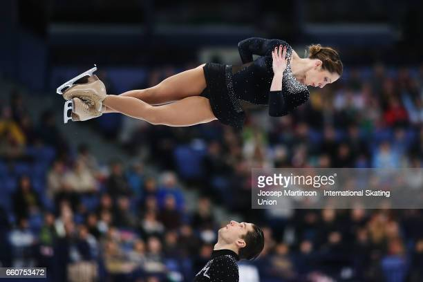 Nicole Della Monica and Matteo Guarise of Italy compete in the Pairs Free Skating during day two of the World Figure Skating Championships at...