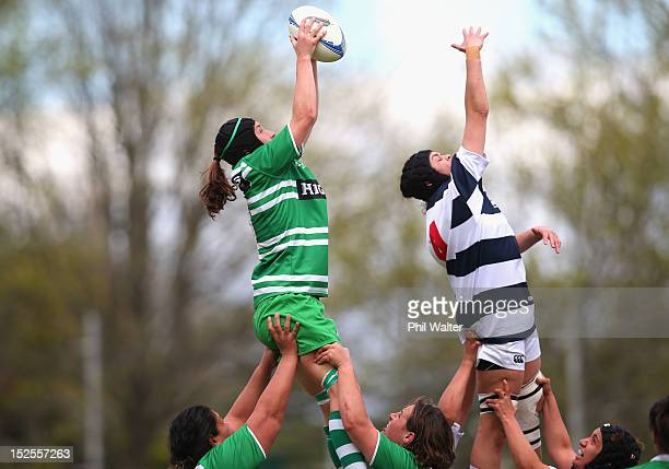 Nicole Dickins of Manawatu takes the ball in the lineout over Eloise Blackwell of Auckland during the round three Women's Provincial Championship...