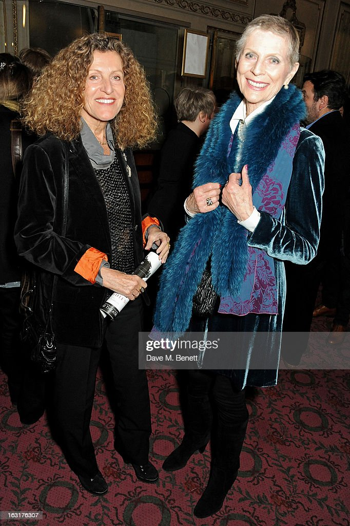 Nicole Farhi (L) and Pauline Stone pose in the foyer followin the press night performance of 'The Audience' at the Gielgud Theatre on March 5, 2013 in London, England.