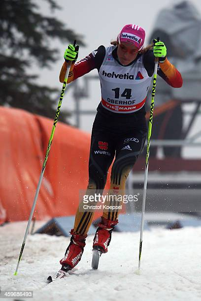 Nicole Fessel of Germany competes in the Women's 15km qualification free sprint at the Viessmann FIS Cross Country World Cup event at DKB Ski Arena...