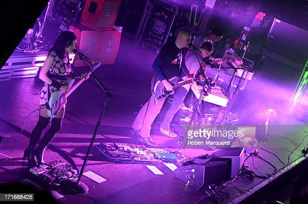 Nicole Fiorentino Billy Corgan Mike Byrne and Jeff Schroeder of the Smashing Pumpkins perform on stage at the Razzmatazz on June 27 2013 in Barcelona...