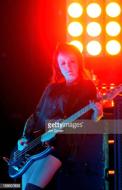 Nicole Fiorentino of American altrock group The Smashing Pumpkins performs live on stage at Brixton Academy on November 15 2011 in London England