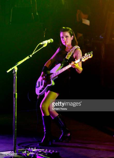 Nicole Fiorentino of Smashing Pumpkins performs at Wembley Arena on July 22 2013 in London England