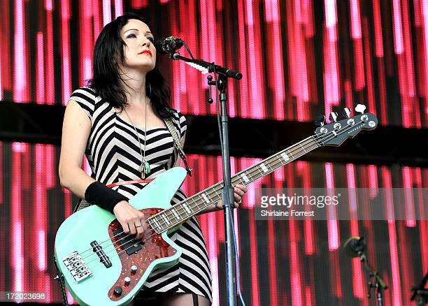 Nicole Fiorentino of The Smashing Pumpkins performs at day 4 of the 2013 Glastonbury Festival at Worthy Farm on June 30 2013 in Glastonbury England