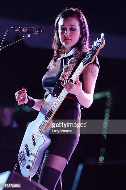 Nicole Fiorentino of The Smashing Pumpkins performs during Sunfest 2013 on May 1 2013 in West Palm Beach Florida
