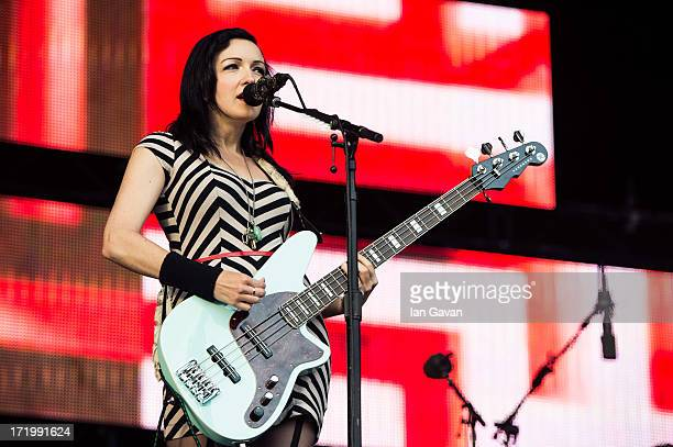 Nicole Fiorentino of the Smashing Pumpkins performs on the Other Stage during day 4 of the 2013 Glastonbury Festival at Worthy Farm on June 29 2013...