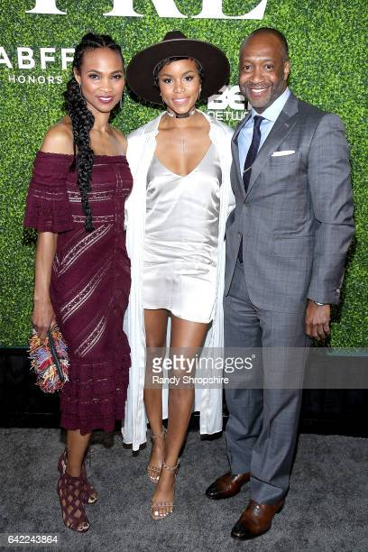 Nicole Friday LeToya Luckett and Jeff Friday attend Pre ABFF Honors Cocktail Party hosted by Debra L Lee Jeff Friday at Cecconi's on February 16 2017...
