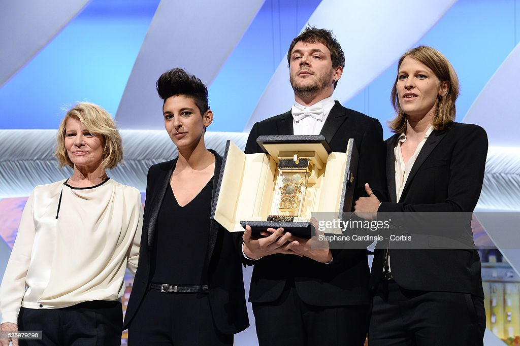 Nicole Garcia, Claire Burger (R), Samuel Theis (2ndR) and Marie Amachoukeli-Barsacq (2ndL), winners of the Camera D'Or Prize for their film 'Party Girl' at the Closing Ceremony during 67th Cannes Film Festival