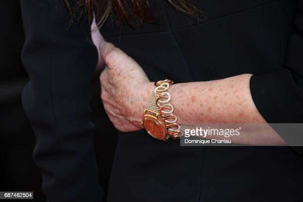 Nicole Garcia watch detail attends the 70th Anniversary screening during the 70th annual Cannes Film Festival at Palais des Festivals on May 23 2017...
