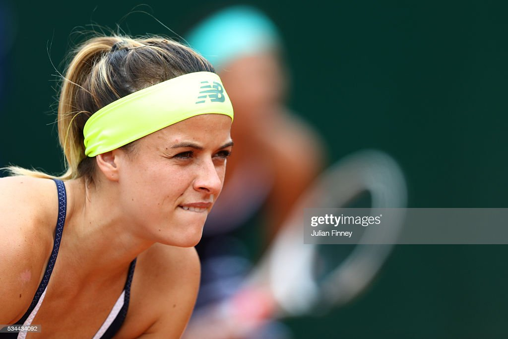 <a gi-track='captionPersonalityLinkClicked' href=/galleries/search?phrase=Nicole+Gibbs&family=editorial&specificpeople=5944661 ng-click='$event.stopPropagation()'>Nicole Gibbs</a> of the United States looks on during the Ladies Doubles first round match against Sabine Lisicki and Andrea Petkovic of Germany on day five of the 2016 French Open at Roland Garros on May 26, 2016 in Paris, France.