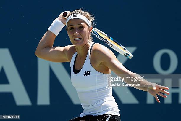 Nicole Gibbs of the United States plays against Caroline Garcia of France during day one of the Bank of the West Classic at the Stanford University...