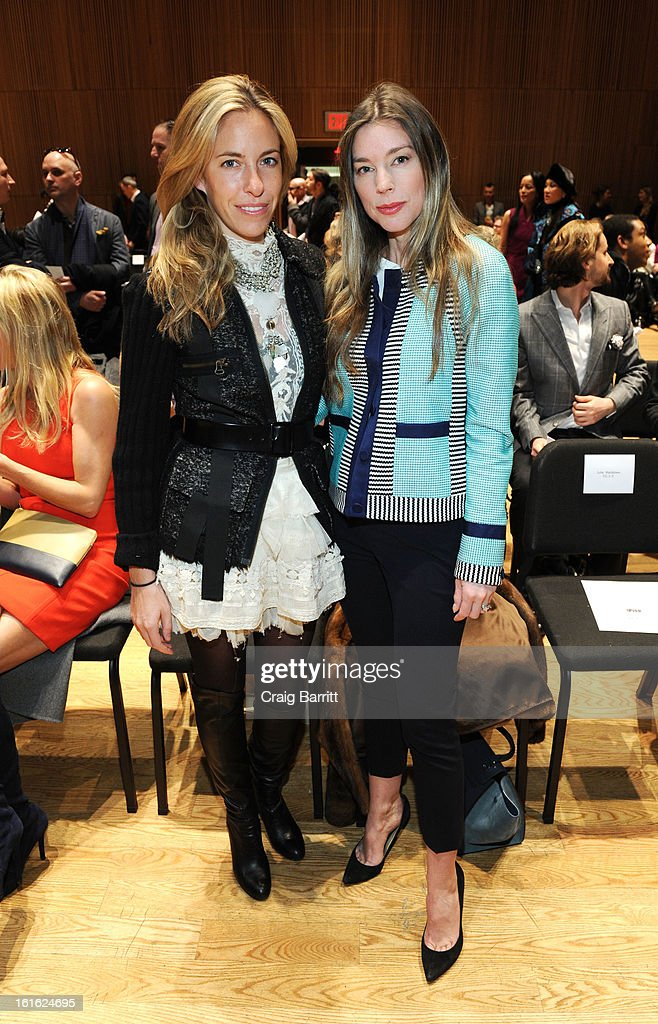 Nicole Hanley Mellon and Alexandra Lind Rose attend the Douglas Hannant fall 2013 fashion show during Mercedes-Benz Fashion Week at the Dimenna Center for Classica Music on February 13, 2013 in New York City.