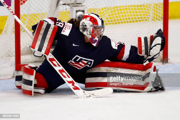 Nicole Hensley of the United States makes a second period save while playing Canada in the gold medal game at the 2017 IIHF Woman's World...