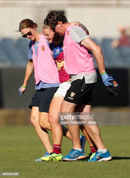 Nicole Hildebrand of the Lions is seen injured during the 2017 AFLW Round 07 match between the Carlton Blues and the Brisbane Lions at Ikon Park on...