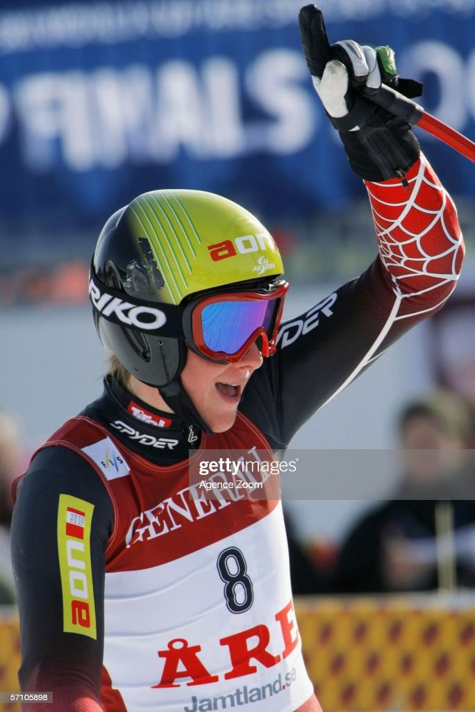 Nicole Hosp from Austria takes 1st place during the FIS Skiing World Cup Super-G - Women's Super-G on March 16, 2006 in Aare, Sweden