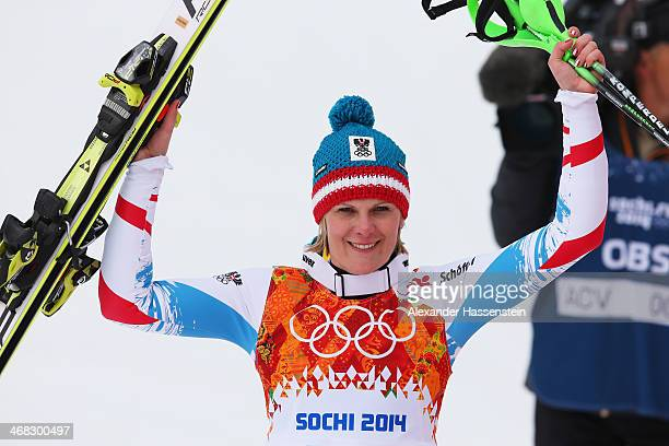 Nicole Hosp of Austria celebrates during the Alpine Skiing Women's Super Combined Slalom on day 3 of the Sochi 2014 Winter Olympics at Rosa Khutor...