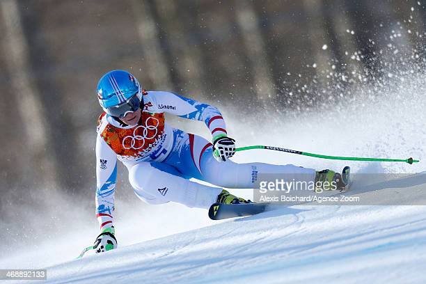 Nicole Hosp of Austria competes during the Alpine Skiing Women's Downhill at the Sochi 2014 Winter Olympic Games at Rosa Khutor Alpine Centre on...