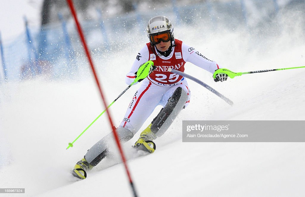 <a gi-track='captionPersonalityLinkClicked' href=/galleries/search?phrase=Nicole+Hosp&family=editorial&specificpeople=226750 ng-click='$event.stopPropagation()'>Nicole Hosp</a> of Austria competes during the Audi FIS Alpine Ski World Cup Women's Slalom on November 10, 2012 in Levi, Finland.