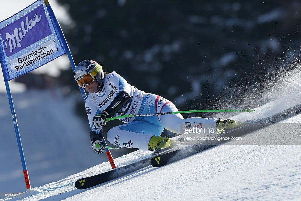Nicole Hosp of Austria competes during the Audi FIS Alpine Ski World Cup Women's SuperG on March 03, 2013 in Garmisch-Partenkirchen, Germany.